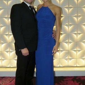 Cache Dresses - Royal Blue Caché Cocktail Dress with Metal Braids